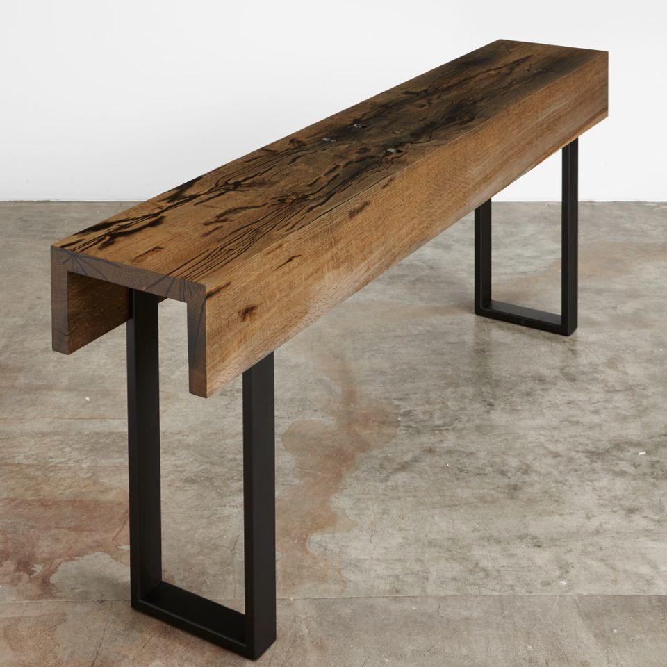 Ebonized oak two fold console with black steel legs UrbanHardwoods