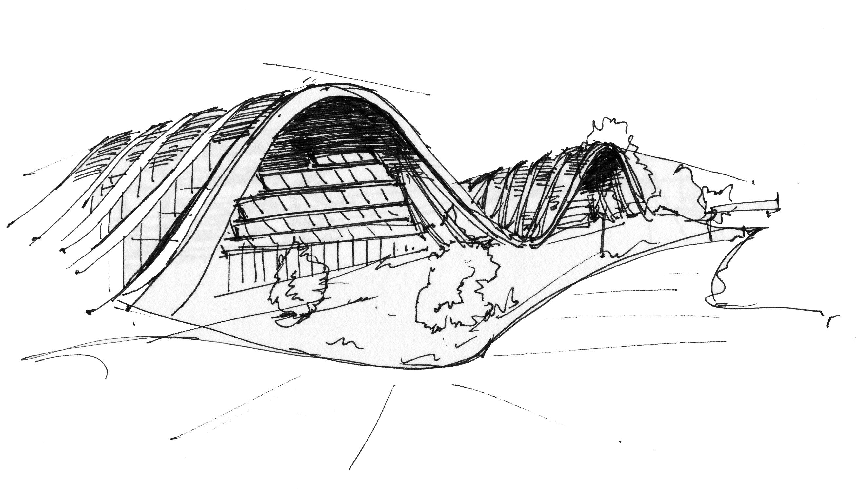 Sketch Of Renzo Piano S Paul Klee Museum In Bern