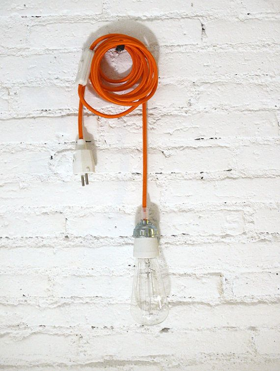 Textile cable lamp with switch and plug - orange bright