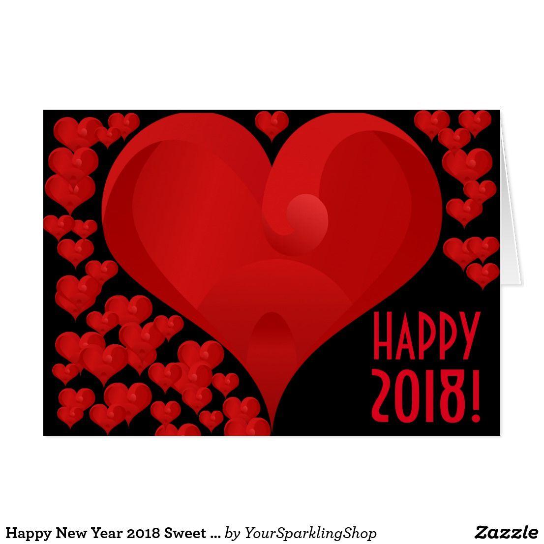 Happy New Year 2018 Sweet Valentine Love Heart Red Valentine