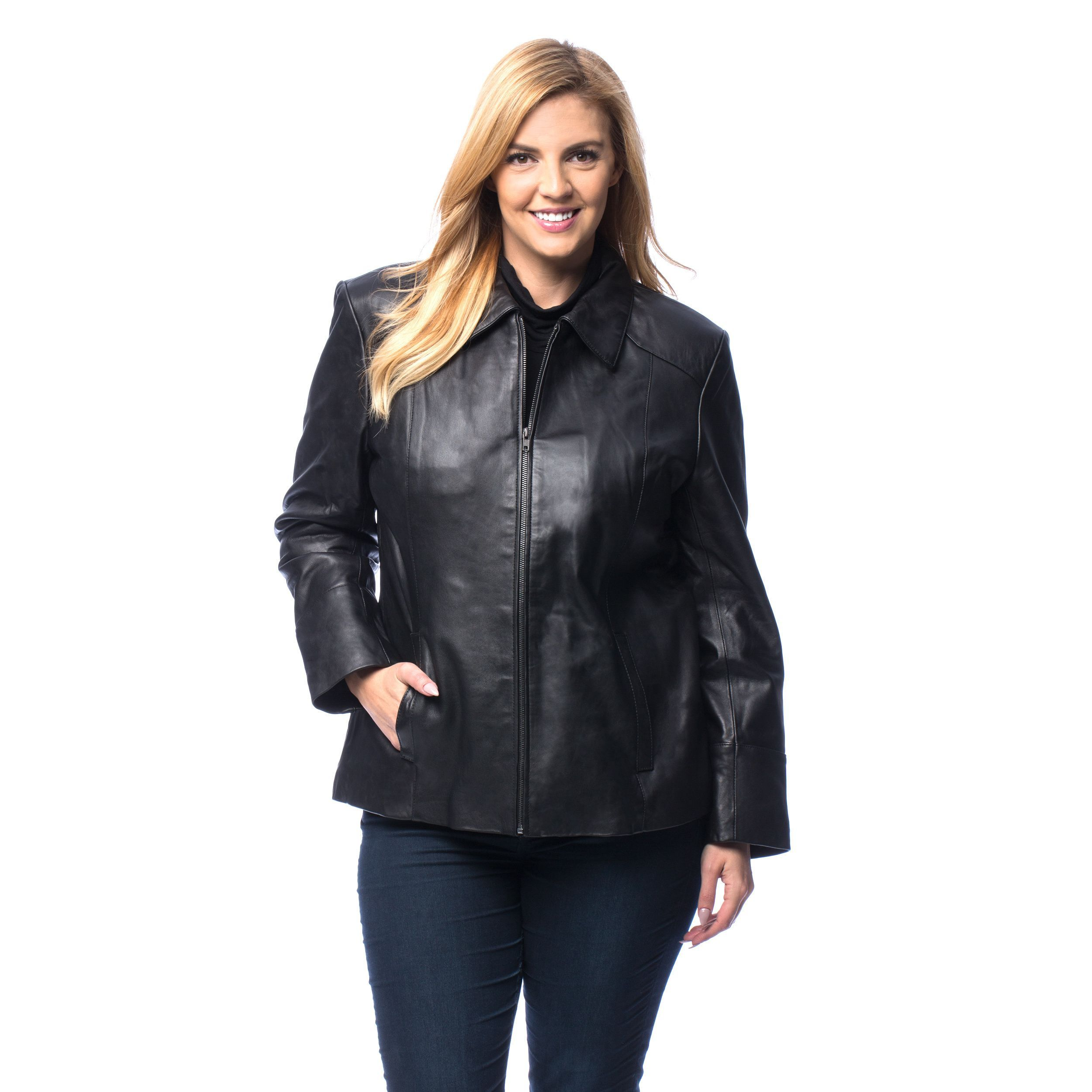 Excelled Women's Plus Lambskin Leather Scuba Jacket by EXcelled