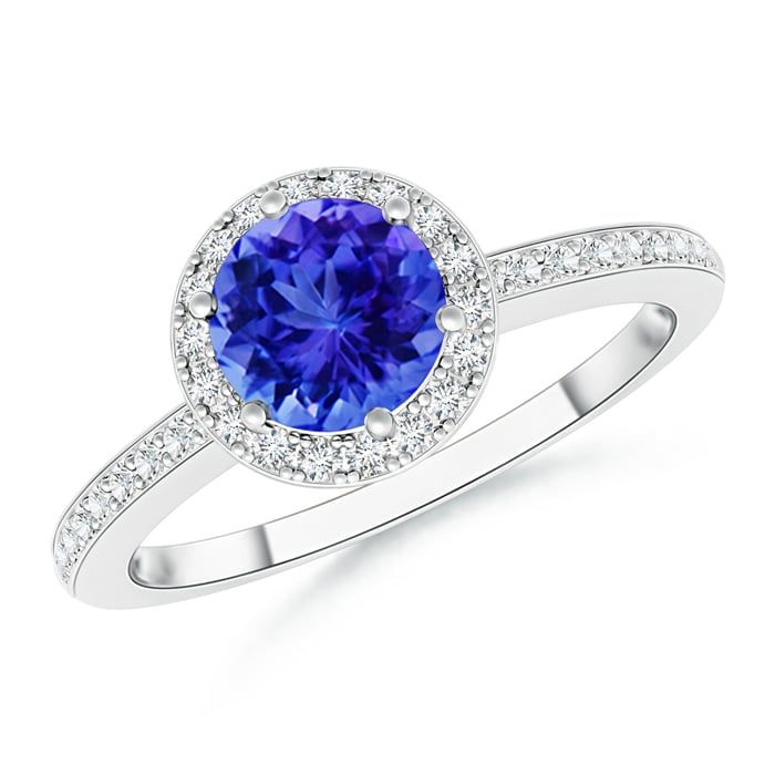 Angara Sunflower Tanzanite and Diamond Tapered Ring in 14k Yellow Gold wf8k0jGLB