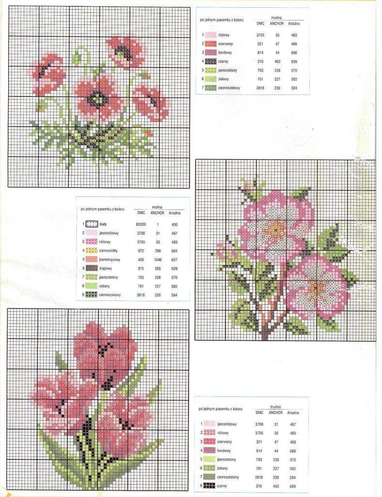 Kreuzstich | Fleurs au point de croix, Modèles de point de croix et Mini point de croix
