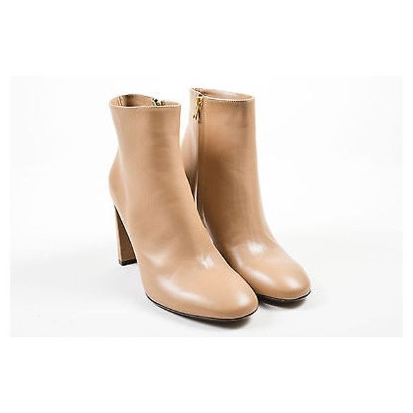 Pre-Owned Marni Nib $990 Sand Tan Leather High Heel Round Toe Ankle... ($435) ❤ liked on Polyvore featuring shoes, boots, ankle booties, multi, tan ankle booties, leather bootie, short boots, ankle boots and tan leather boots