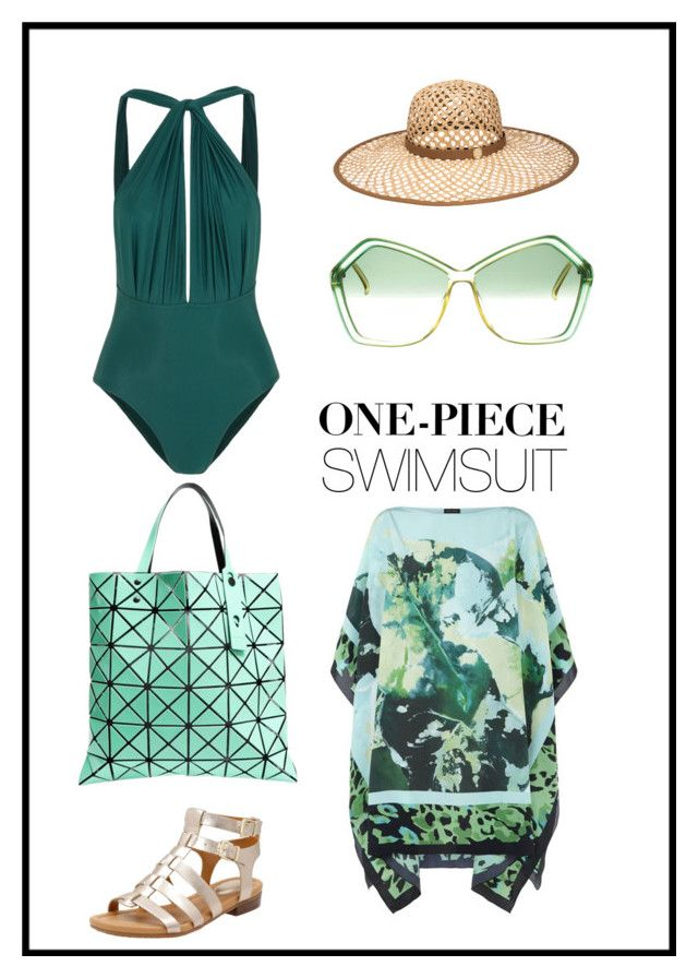 """""""One Piece Swimsuit"""" by liinasworld ❤ liked on Polyvore featuring ESCADA, Lenny, Henri Bendel, Christian Dior, Bao Bao by Issey Miyake, Clarks and onepieceswimsuit"""