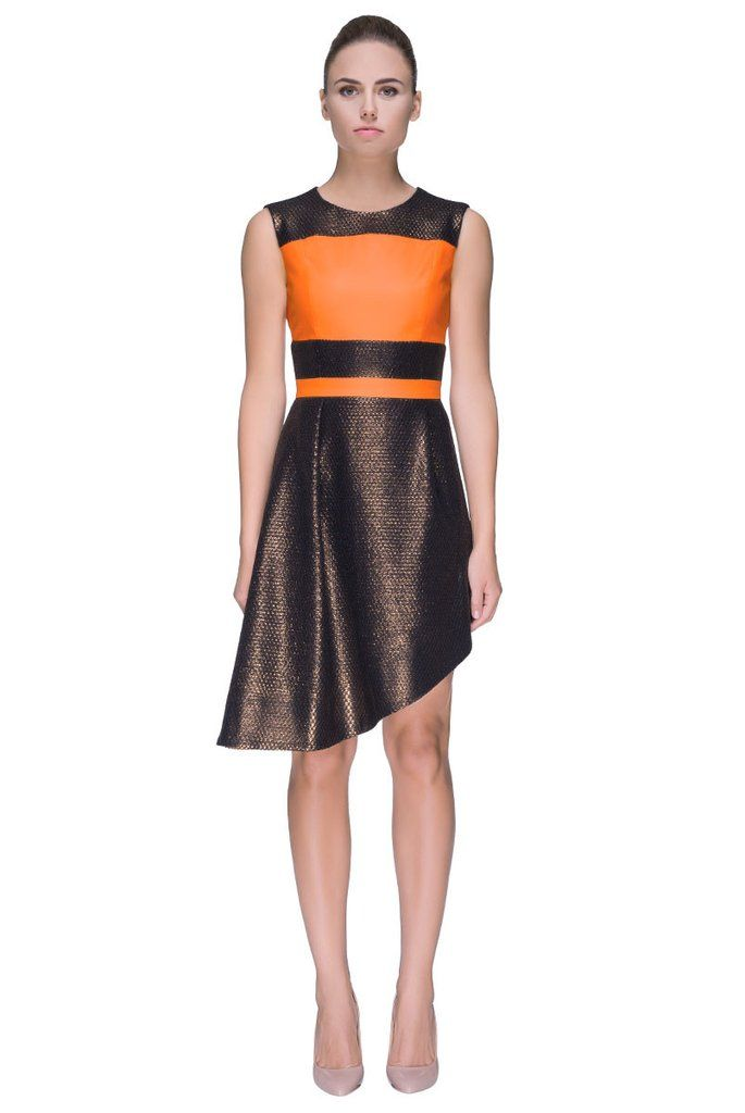 Orange Chocolate Remedy Reviving And Colored Sleeveless Dress