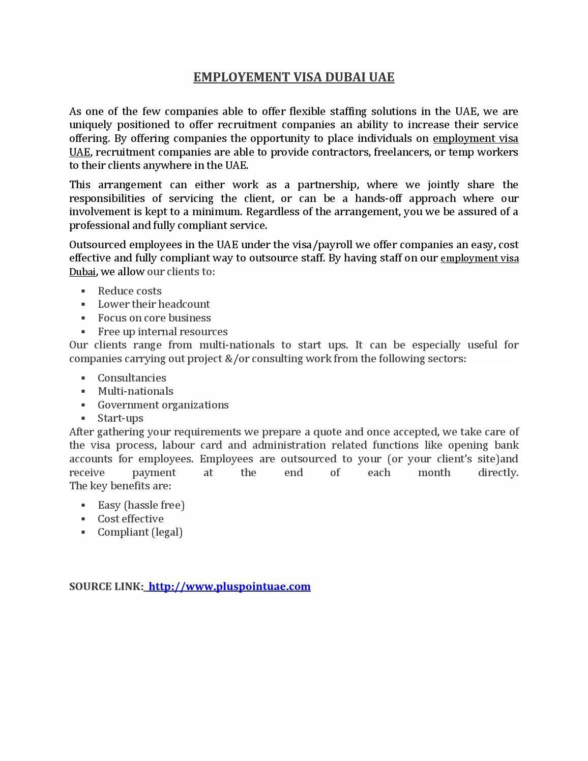 Employement Visa Dubai Uae  Dubai Uae Uae And Dubai