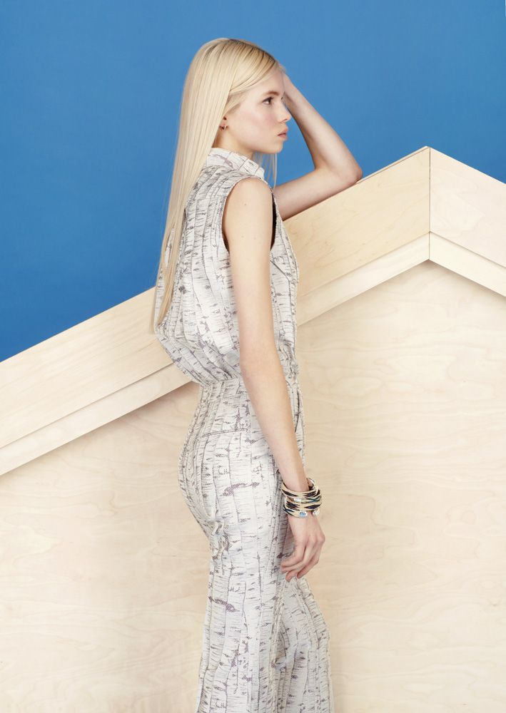 Look 22 - Grey and silver birch bark print sleeveless jumpsuit with flares | Alexander Lewis PreFall2013