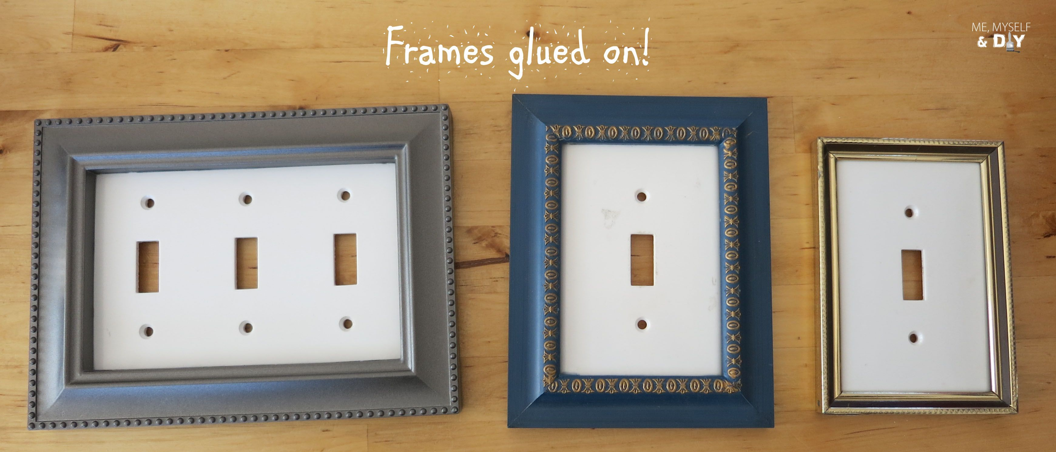 DIY switch plate update- buy used small photo frames - spray paint white -  glue to switch plate or glue first & use a spray paint for plastic - use a  clear ...