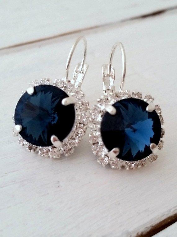 92aa1c314374b Navy Blue earrings,Navy blue crystal drop earrings, Bridal earrings ...