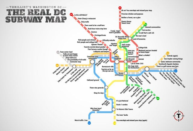 The Real DC Metro Map funny quotes & pics