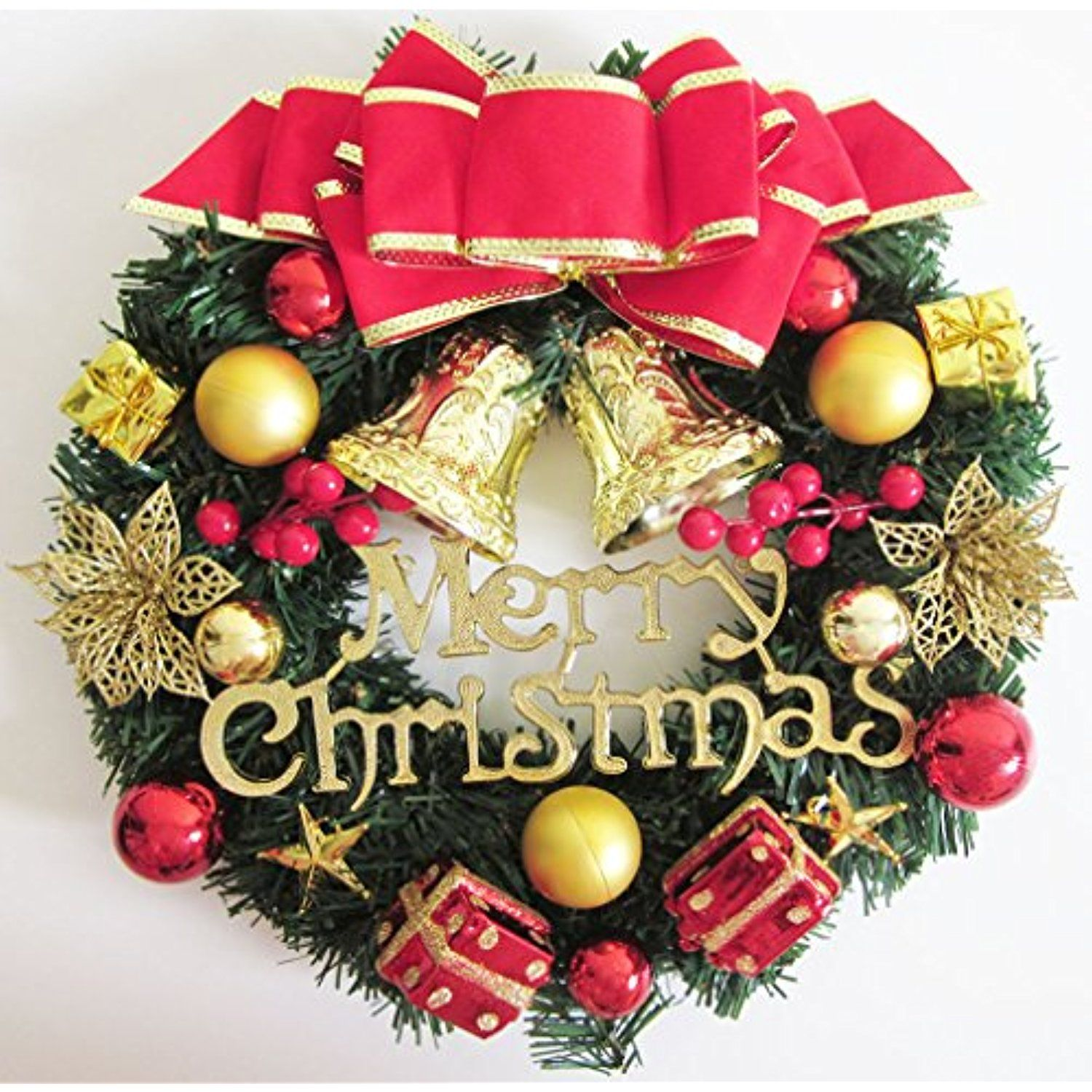 Artfen Christmas Wreath Christmas Tree Wreath Door Wall Windows