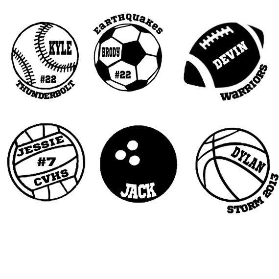 Custom Car Decal Sports Basketball Football By PinkTreeDesign - Football custom vinyl decals for cars