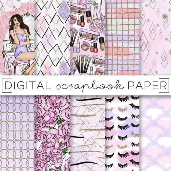 Purple Pink Fashion Girl Digital Scrapbook Paper