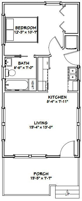 16x32 tiny house 16x32h1b 511 sq ft excellent for 16x32 house plans