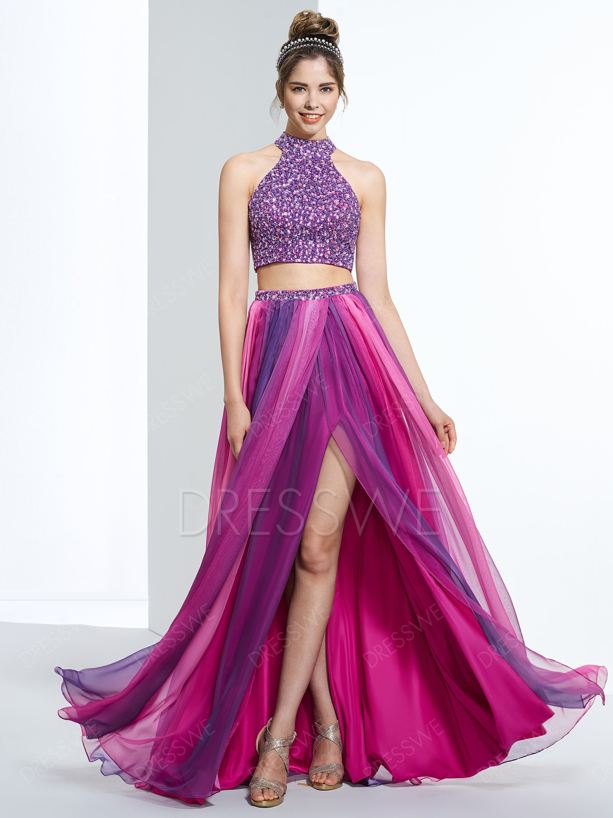 6940a02eab07a Buy Fancy Halter Beaded Slit Front Two Pieces Crop Top Prom Dress ...