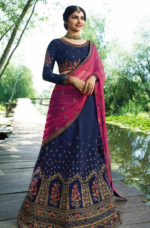 5c8a0cec8ebca7 Navy Blue & Pink Designer Embroidered Art Silk Wedding Lehenga Choli ...