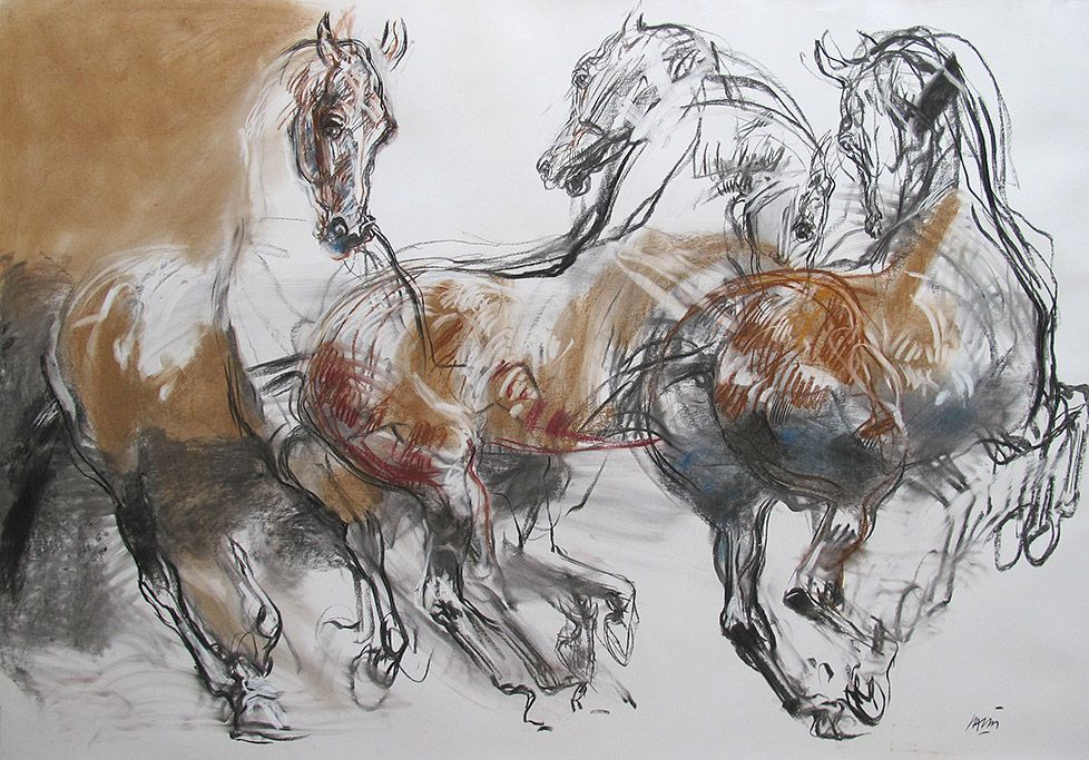 3 Chevaux De Jean Louis Sauvat Horse Drawings Horse Art