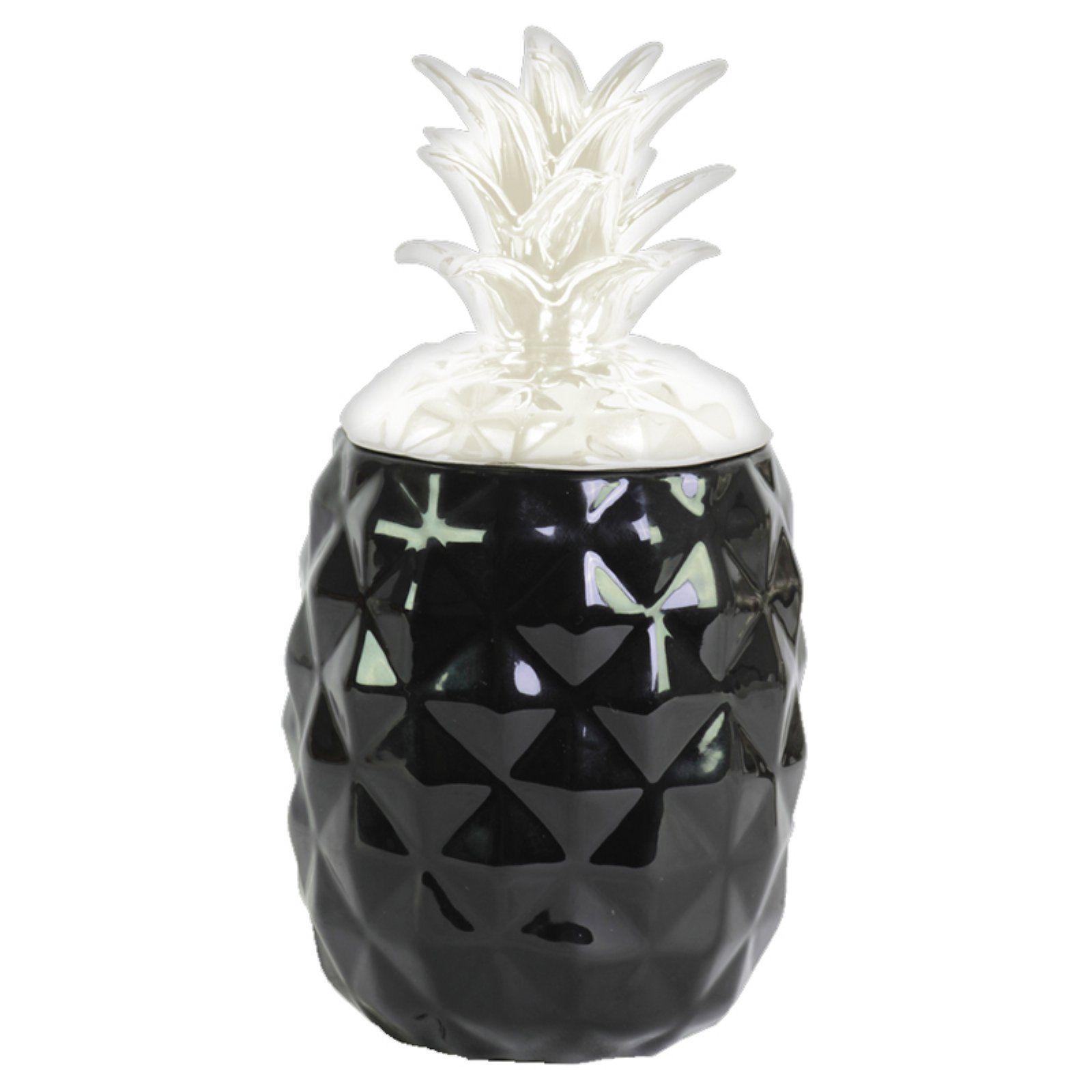 Urban Trends Ceramic Pineapple Canister Black White Lid