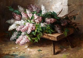 STILL LIFE OF LILAC ON A BENCH By Alfred Brunel Neuville