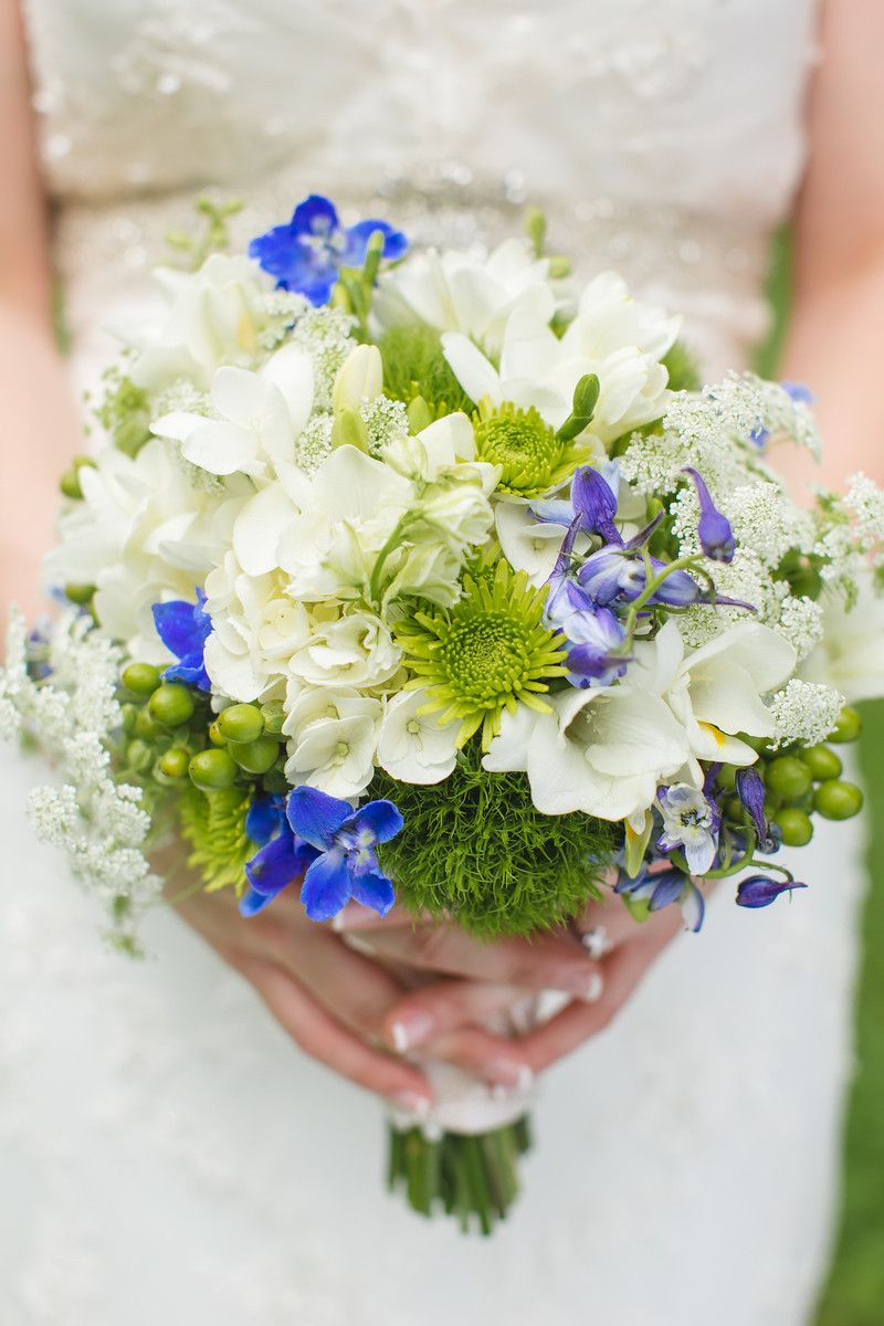 Bridal Bouquet - Green White Blue - Knoxville TN Greek