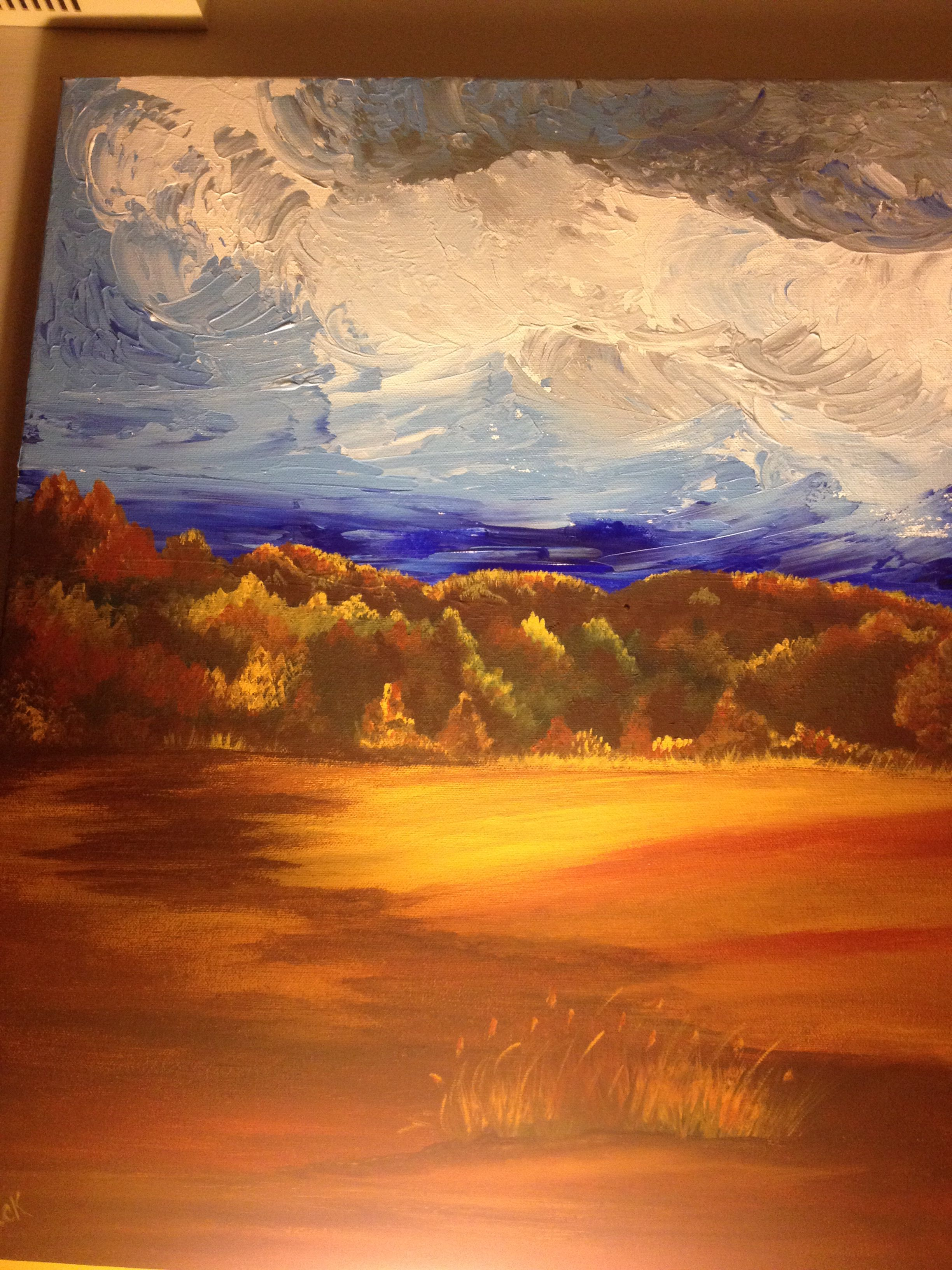 Original Fall Scene. Acrylic