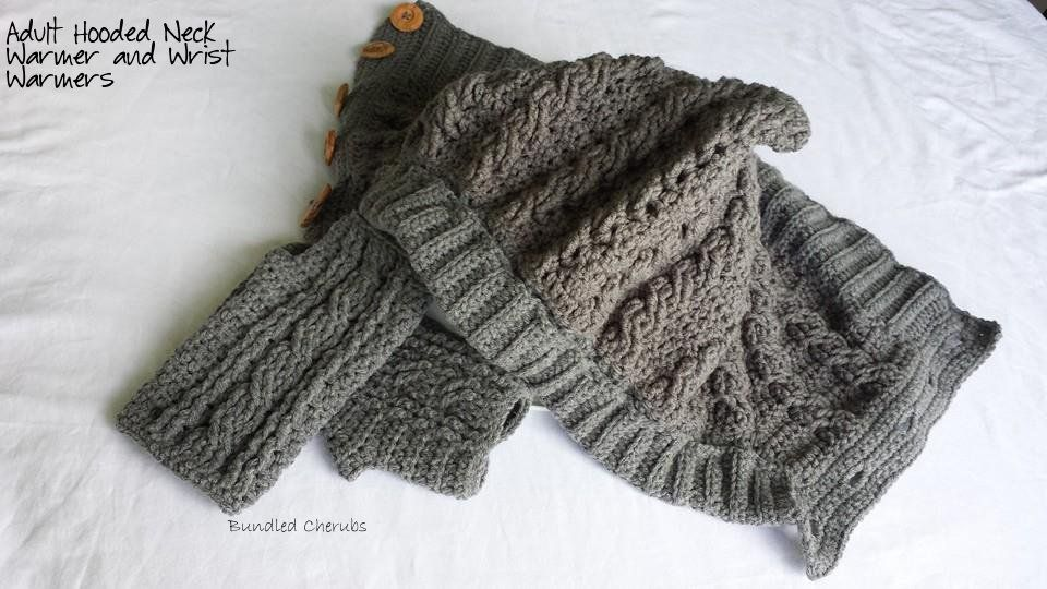Hooded neck warmer and fingerless mitts with crochet ...