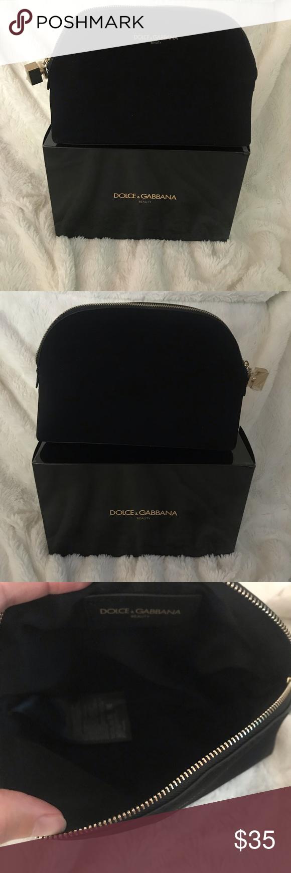 Dolce & Gabbana Black Velvet Makeup Bag Cosmetic Dolce