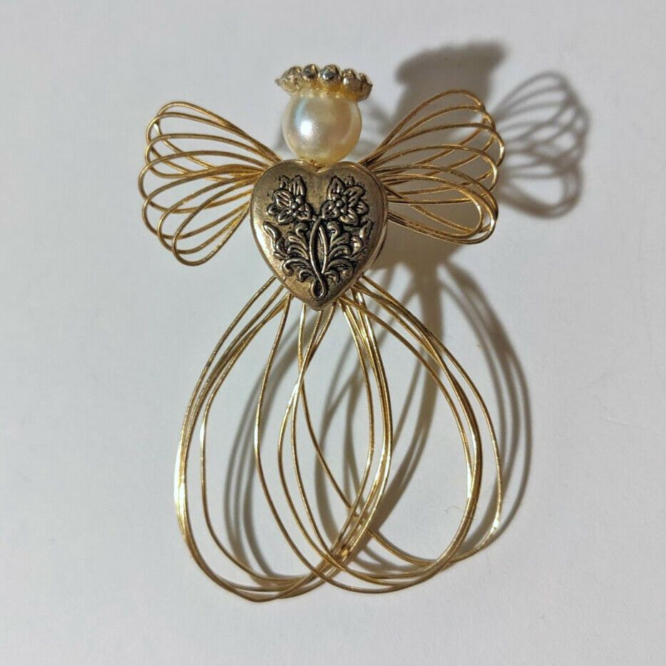 Vintage Goldtone Pearl Wire Angel Brooch Pin Holiday Christmas Costume Jewelry