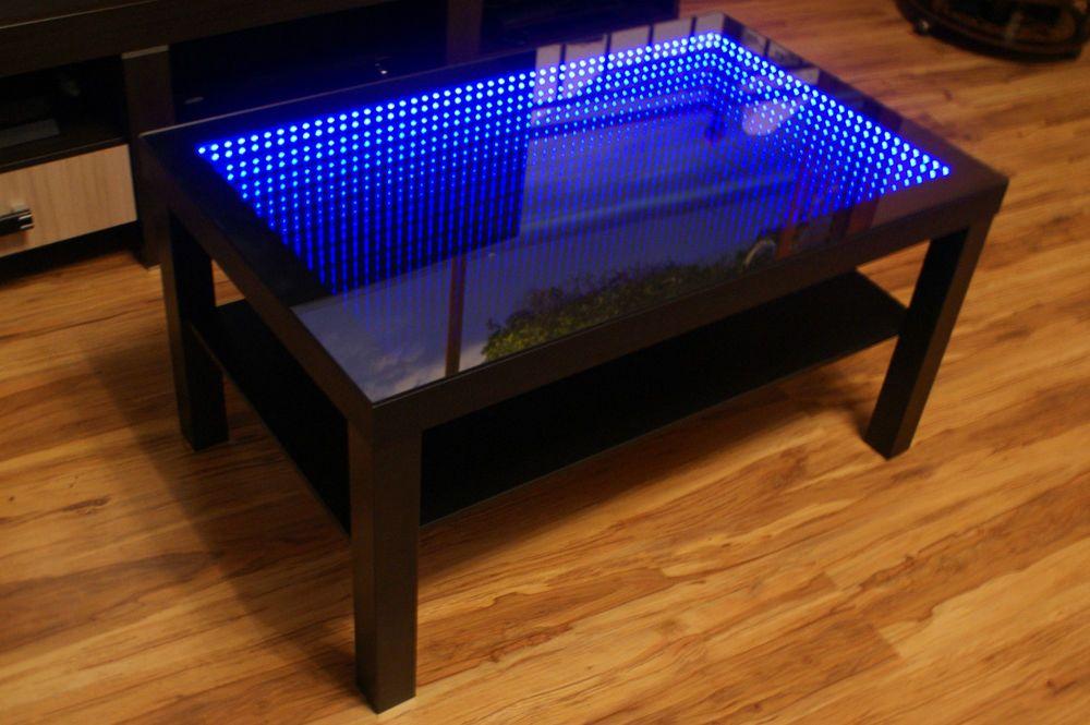 BLACK Table LED 3D Coffee Table Illuminated INFINITY