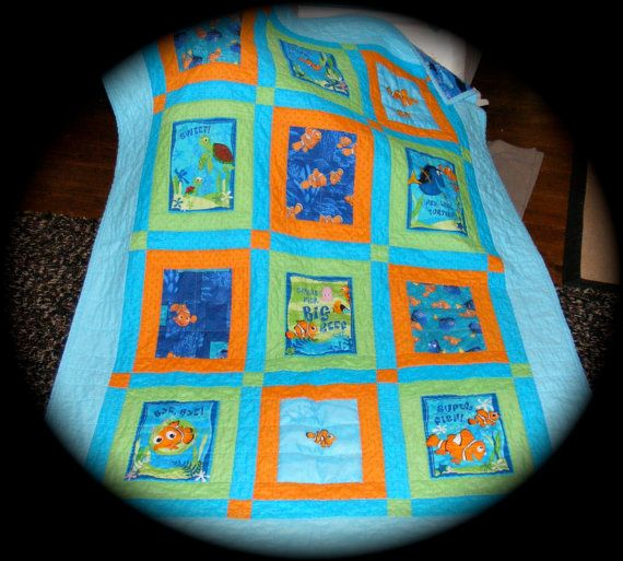 Disneys Finding Nemo Fabric Quilt made with Out of Print Finding ... : nemo quilt - Adamdwight.com