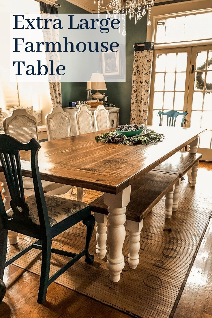 An extra-large Farmhouse Style dining table that can seat 10 to 12 guests comfortably made by 135 Custom Furniture for #adelightsomelife #farmhousestyle #diningtable #farmhousetable