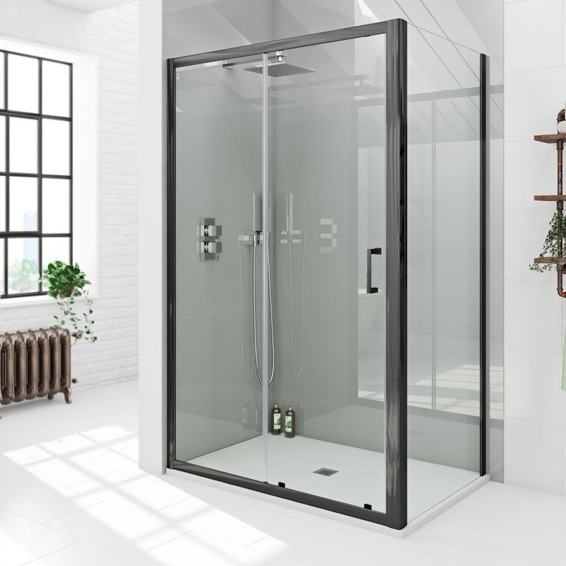 Mode Black 6mm Sliding Shower Enclosure With White Slate Effect Tray 1200 X 800 With Images Shower Enclosure Stone Shower Sliding Shower Door