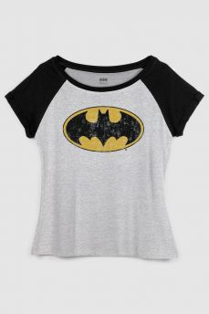 bc8037774 Camiseta Raglan Feminina Batman Logo Clássico