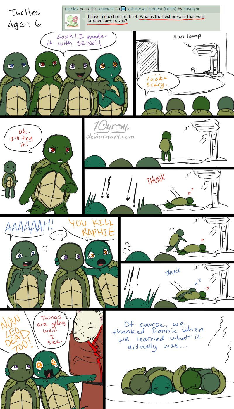 Ask the AU Turtles: 8 by 10yrsy.deviantart.com on @deviantART<--- CUUUUTE!!!!