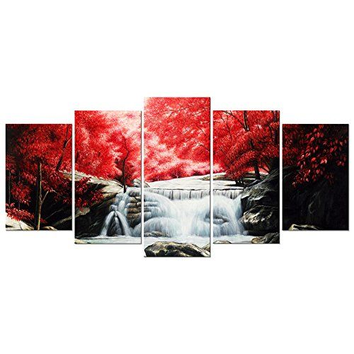 Wieco Art - Red Forest Waterfall 5 Panel Modern Stretched... https ...