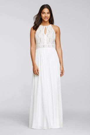 0e5cc74abe2 A breezy tie-back keyhole mirrors the front of this long but light-as-air halter  dress, adorned with waves of sparkling sequins on the lace bodice.