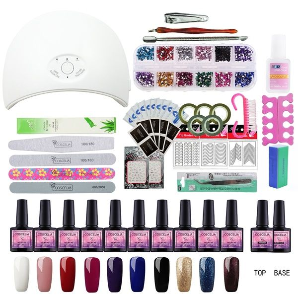 36w Led Nail Lamp 10 Color Nail Polish Set Soak Off Gel Nail Art Tools Kit Ongles Uv Lampe Uv Led Nail Art Gel