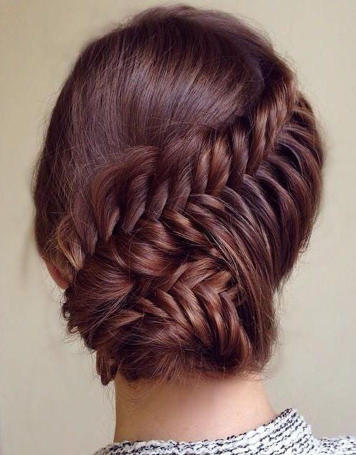 Style Of Cute Prom Updo Hairstyles 2015 Ideas Lovely prom updo hairstyle 2015 with fishtail braid and bun Luxury - New herringbone braid Review
