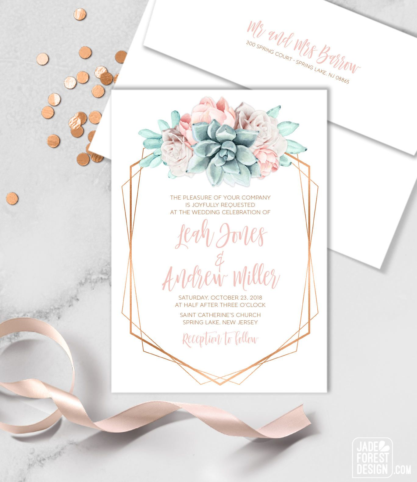 Announce your wedding with Succulents Save the date card from