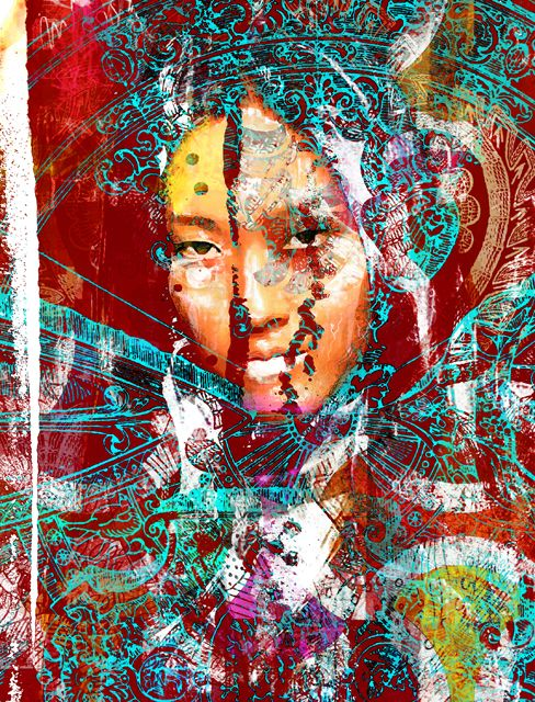 Portrait, Mixed Media, Digital Art,  Metamorphose I,  Susanne Mutert