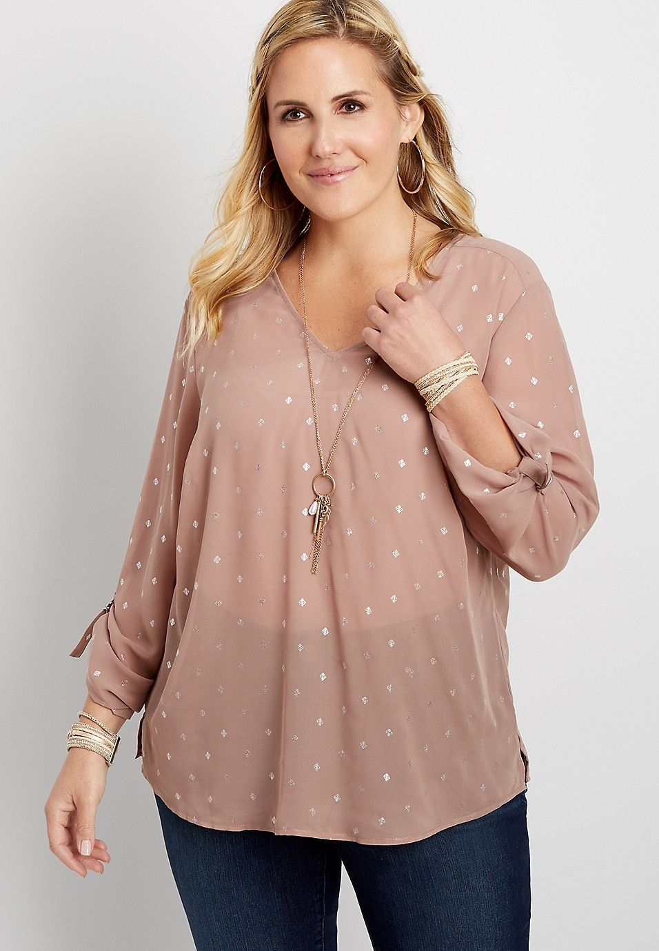 18f2232e50 plus size diamond x-back blouse