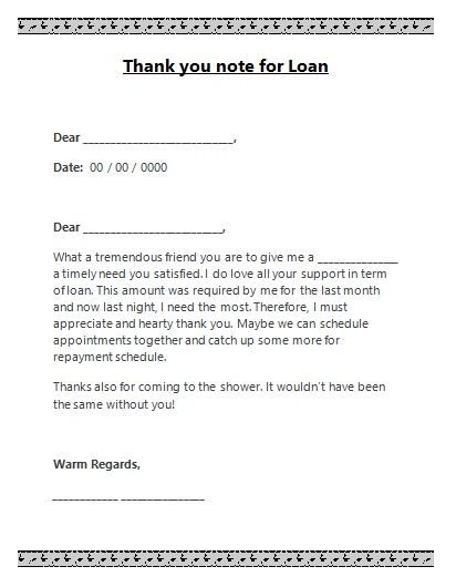 Thank You Note Template For Loan  Love My Templates