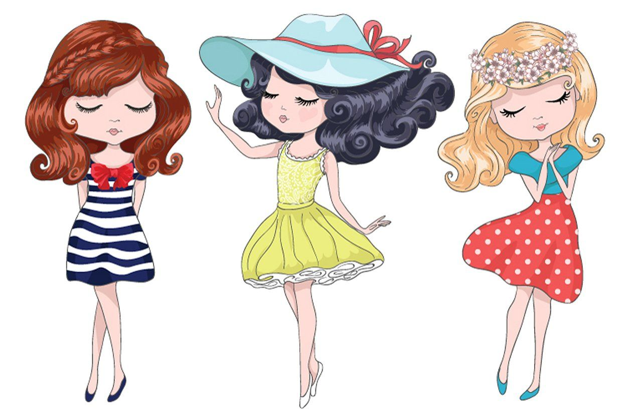 cute girls beautiful romantic girls customizable illustrator file