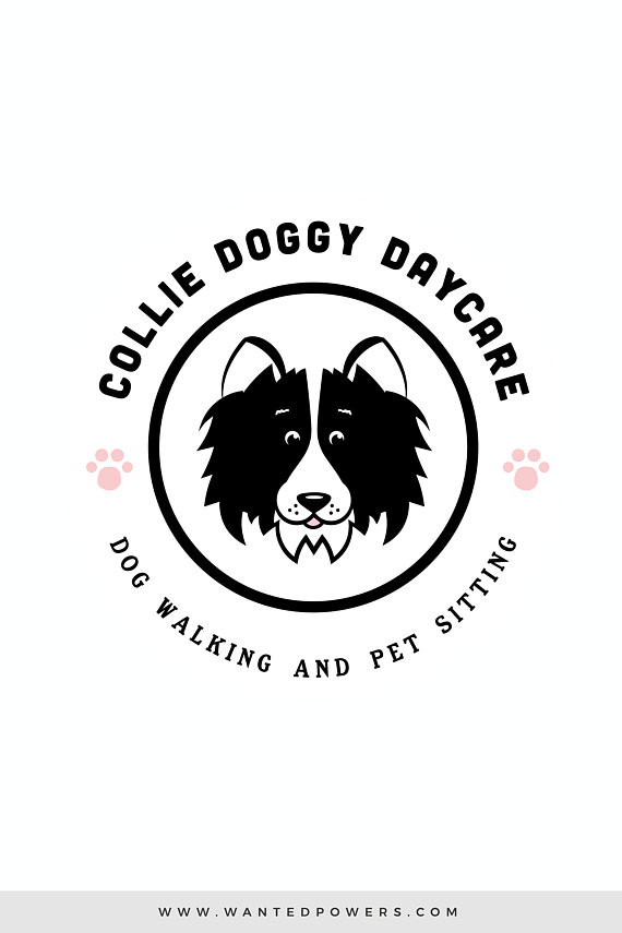 Border Collie Dog Walking Daycare Logo Custom Pre Made Logo Design #0: 0d042ee1bad6f1a fbe73bdea6
