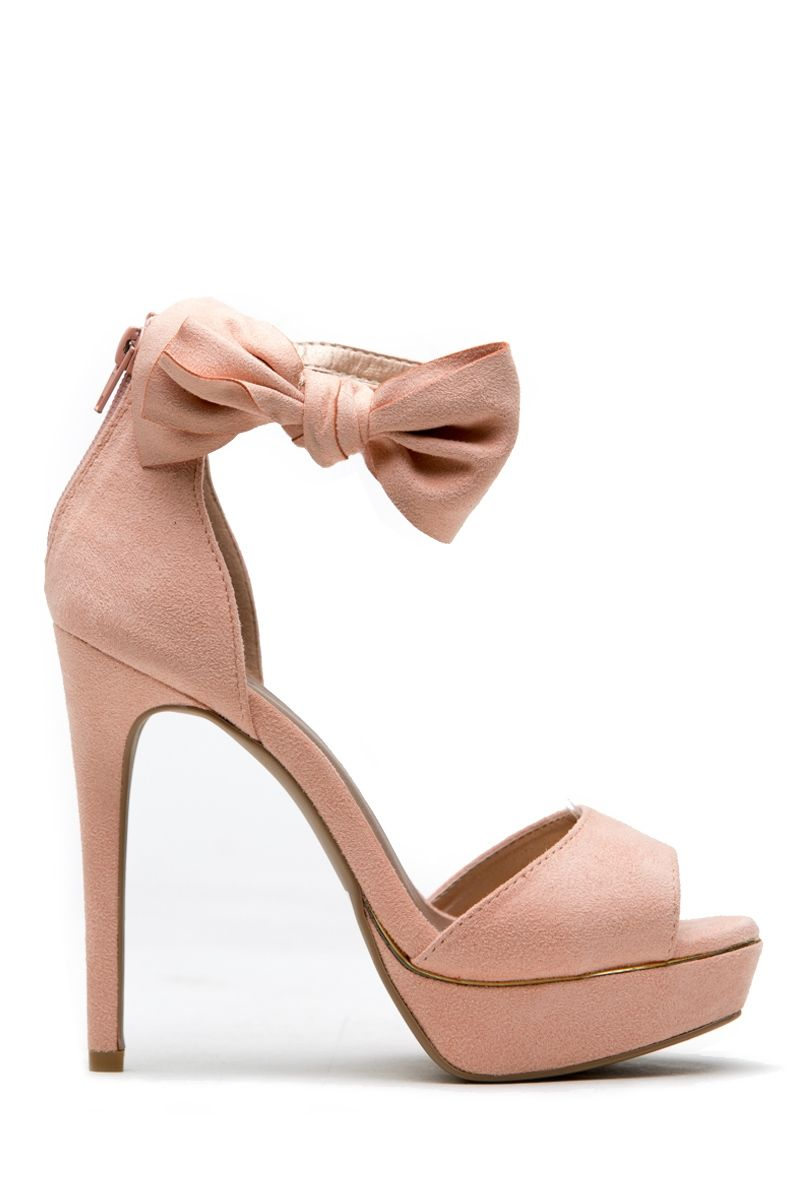 80b901fafdc Blush Faux Suede Open toe Bow Ankle Strap Platform Heels   Cicihot Heel  Shoes online store sales Stiletto Heel Shoes