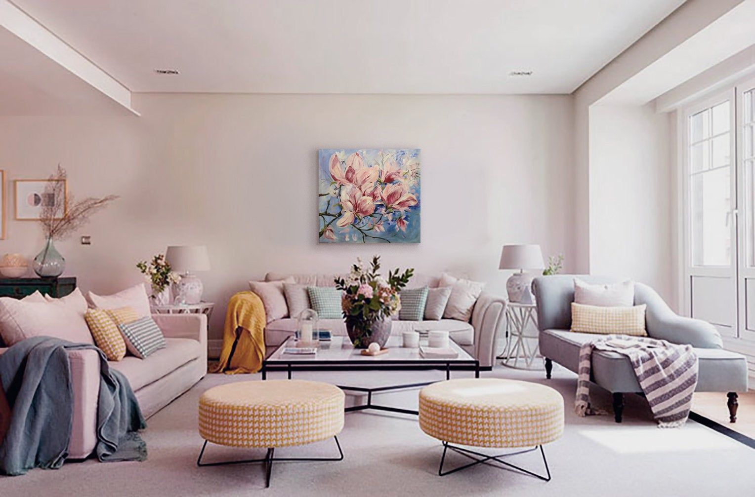Pink Magnolia Bloom Large Original Painting Unique Gift Spring Etsy In 2020 Yellow Walls Living Room Beige Living Rooms Living Room Decor Apartment