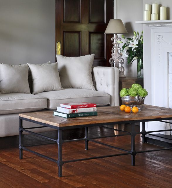 Hoxton industrial style rectangular coffee table with reclaimed top