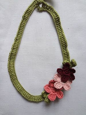 Crochet Flower Necklace Free Pattern Aretes Pinterest Free