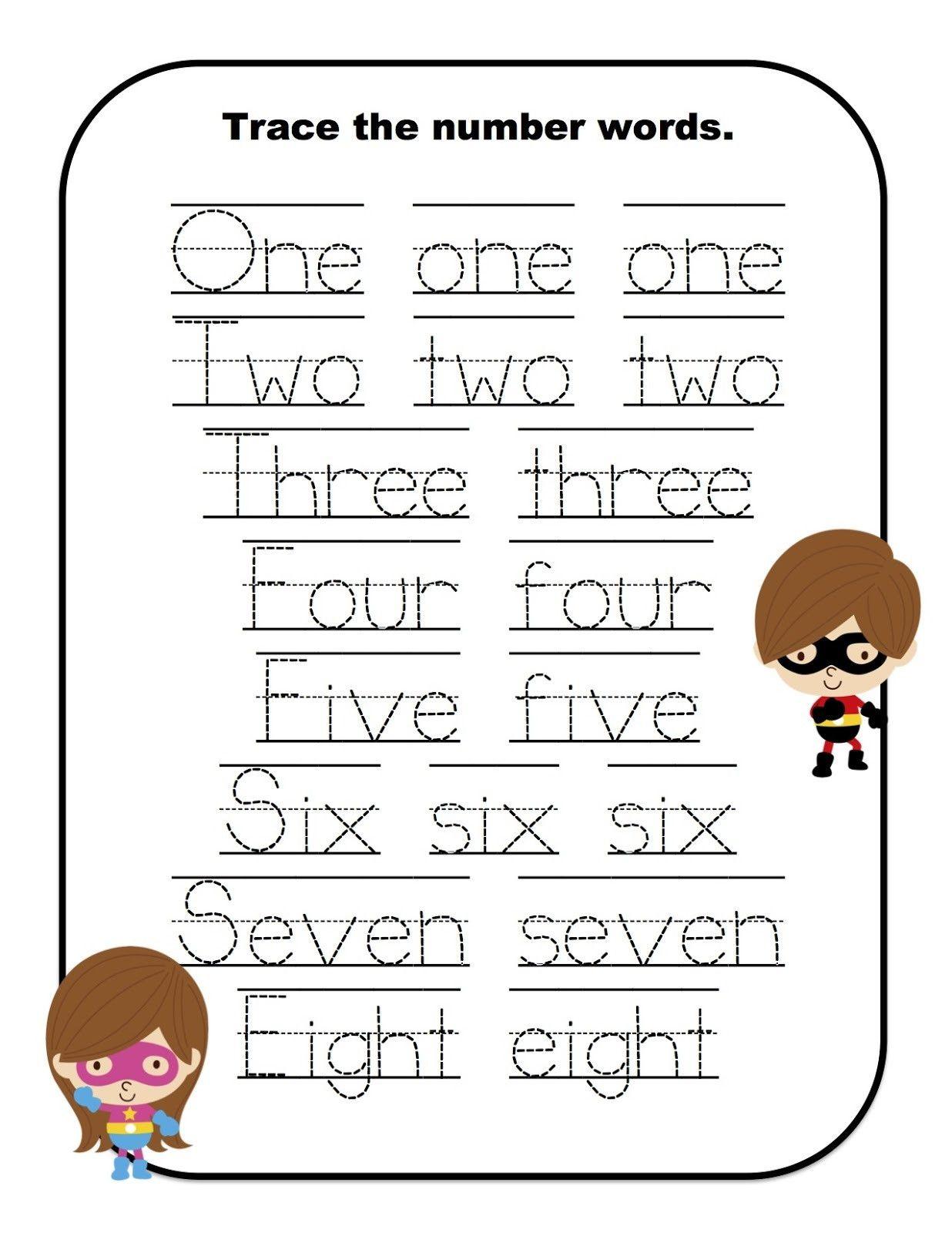 Number Word Worksheets For Kindergarten